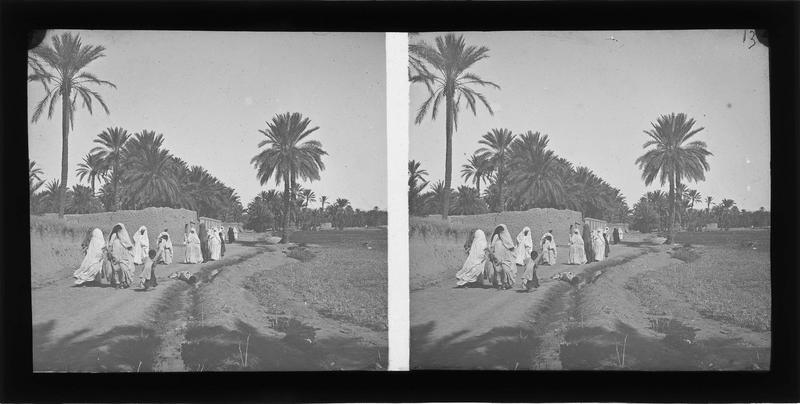 Chemin avec autochtones dans l'oasis