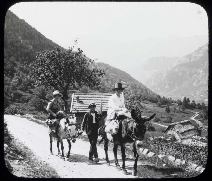 Route de montagne et voyageurs à dos de mulets