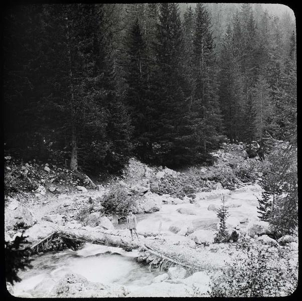 Passage sur la Vésubie bordée par la forêt et homme en uniforme