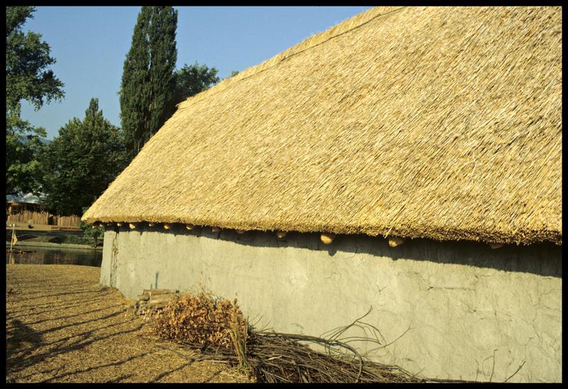 Vue de la toiture d'un cabane.
