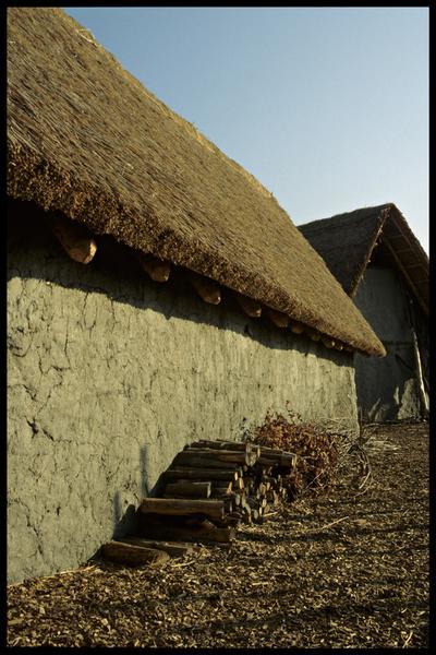 Vue d'une façade de cabane.