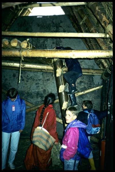 Vue de l'échelle d'accès à l'étage dans une cabane.