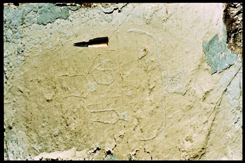 Vue de la gravure de la roche avant moulage (fouille R. David, B. Pichard).