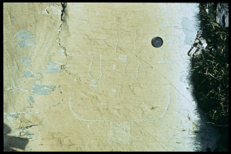 Vue de la gravure sur la roche après le moulage (fouille R. David, B. Pichard).