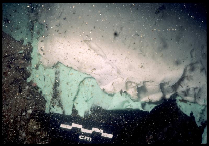 Vue sous-marine de détail des couches de silicone sur le bois de la carène (fouille S. Ximénès).