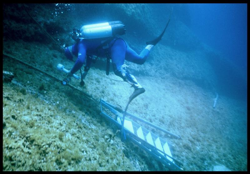 Vue sous-marine d'un plongeur transportant le matériel pour obstruer l'accès à la galerie du puits centrale (fouille J. Courtin, J. Clottes).