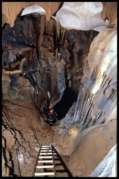 Vue de la mise en place de l'échelle d'accès par le grand puits (fouille J. Courtin, J. Clottes).