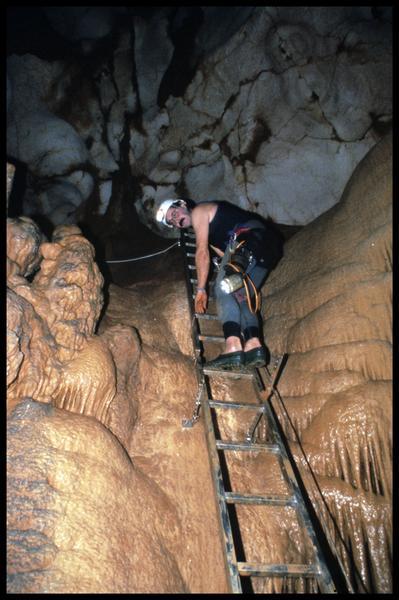 Vue de la descente à l'échelle du grand puits d'un spéléologue (fouille J. Courtin, J. Clottes).