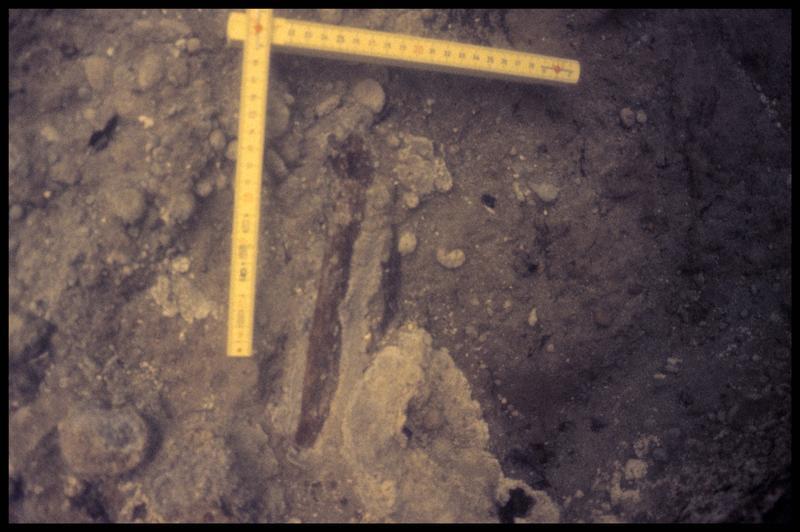 Vue sous-marine d'un fragment de céramique in situ (fouille Y. Billaud/Drassm).