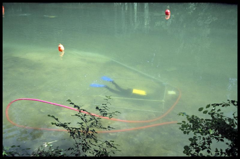 Vue d'un plongeur dans le sondage depuis la surface (fouille Y. Billaud/Drassm).