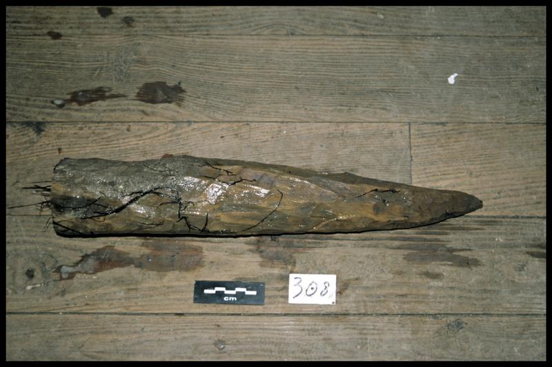 Vue du pieu de bois 308 (fouille Y. Billaud/Drassm).