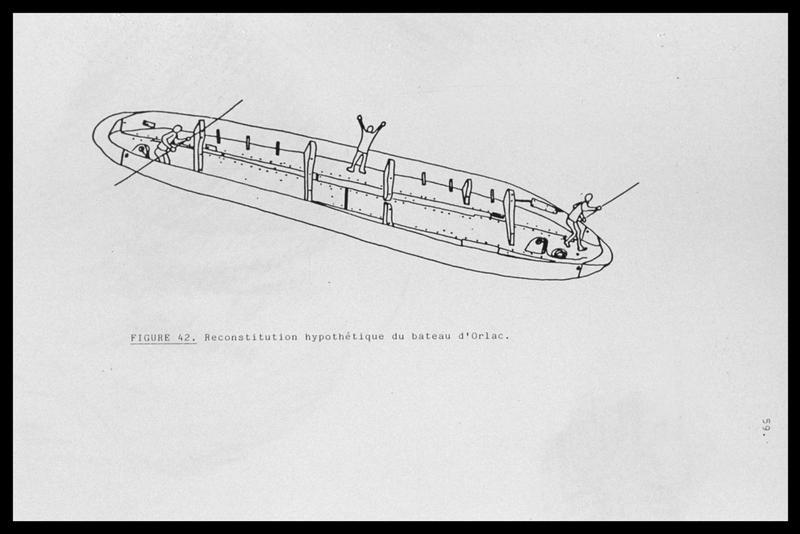 Vue de la reconstitution hypothétique du bateau (fouille E. Rieth).
