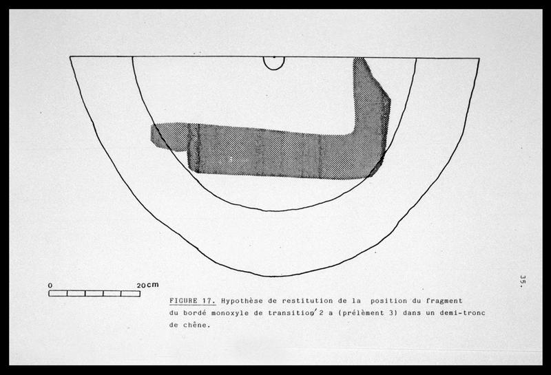 Vue du dessin de l'hypothèse de restitution de la position de la pièce monoxyle dans un demi tronc de chêne (fouille E. Rieth).