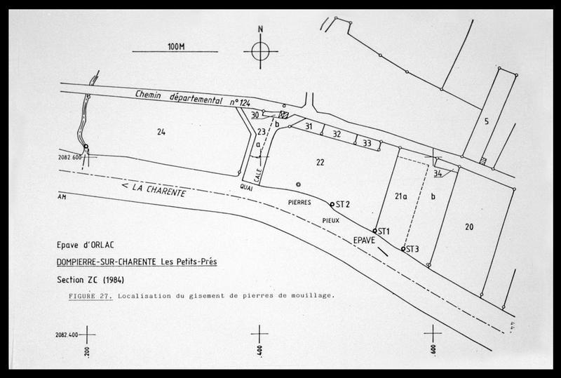 Vue de la localisation de l'épave sur une carte cadastrale (fouille E. Rieth).