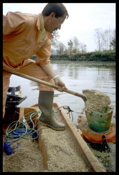 Vue du déversement du sable dans le tube pour le réensablage du site (fouille E. Rieth).
