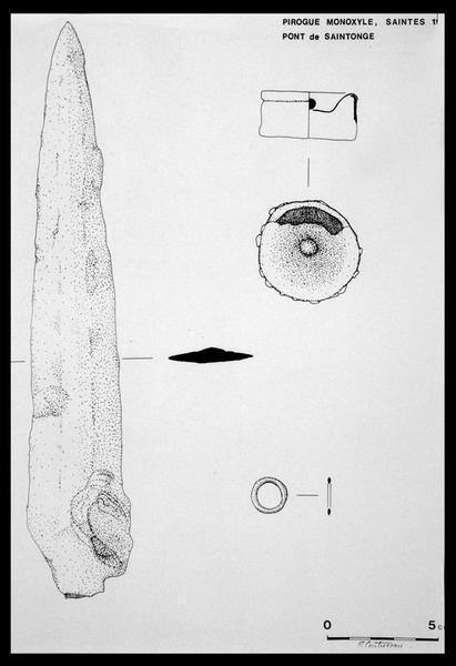 Vue du dessin de la lame et d'un élément métallique (fouille E. Rieth).