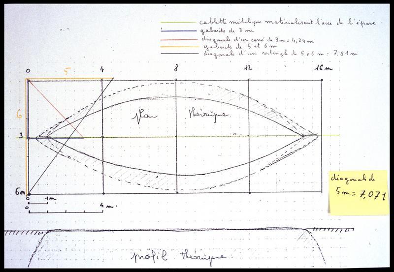 Vue du plan d'implantation du carroyage sur le plan général de la carène (fouille E. Rieth).