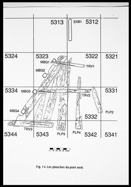 Vue du dessin des planches du pont aval (fouille E. Rieth).