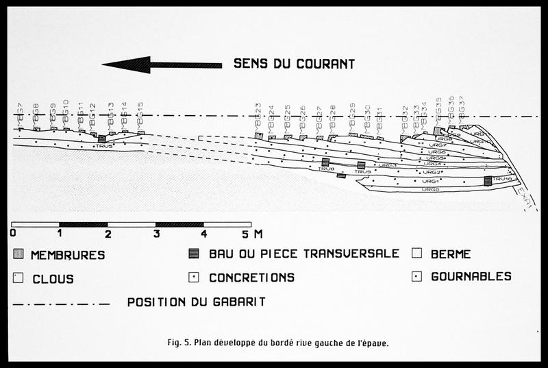 Vue du plan développé du bordé rive gauche (fouille E. Rieth).