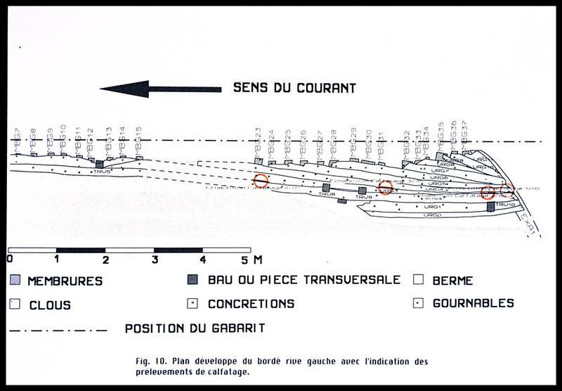 Vue du plan développé du bordé rive gauche avec la localisation les prélèvements de calfatage (fouille E. Rieth).