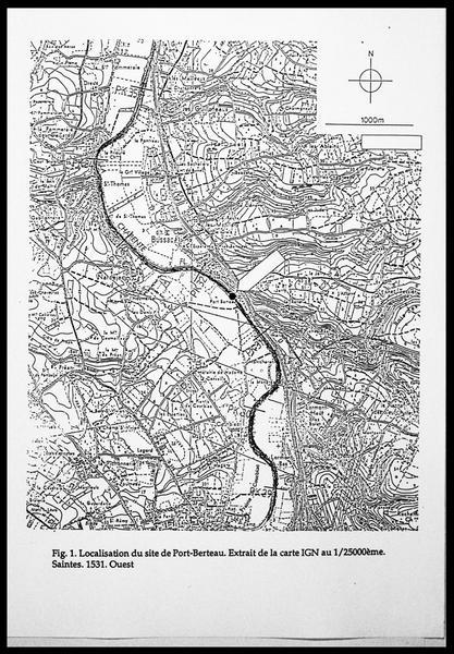 Vue de la localisation de l'épave sur une carte IGN (fouille E. Rieth).