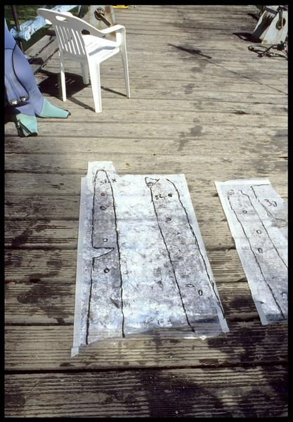 Vue du relevé des pièces de bois sur film transparent (fouille E. Rieth).