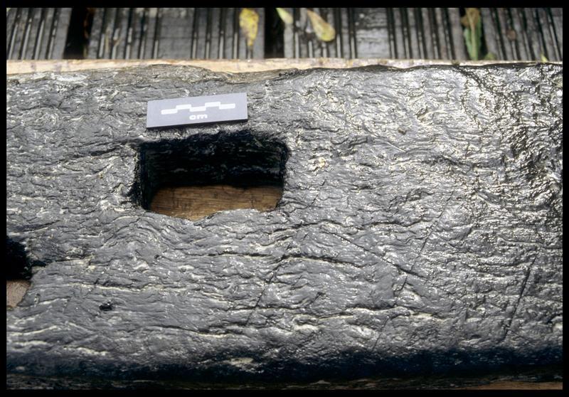 Vue de détail d'une cavité et des traces d'outil de la pièce de bois PLI3 (fouille E. Rieth).