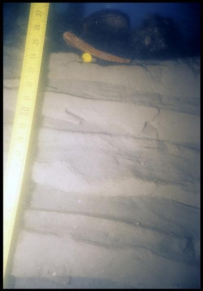 Vue sous-marine de la stratigraphie (fouille E. Rieth).