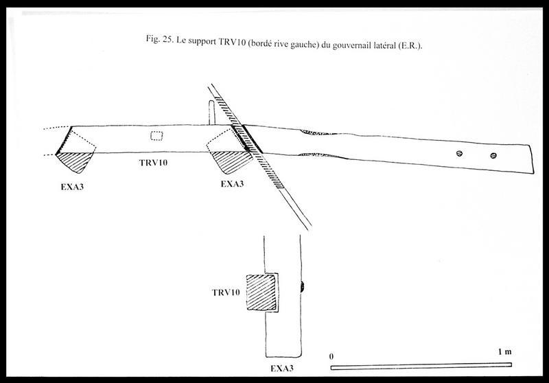Vue du dessin du bordé de travers TV10 et du gouvernail latéral (fouille E. Rieth).