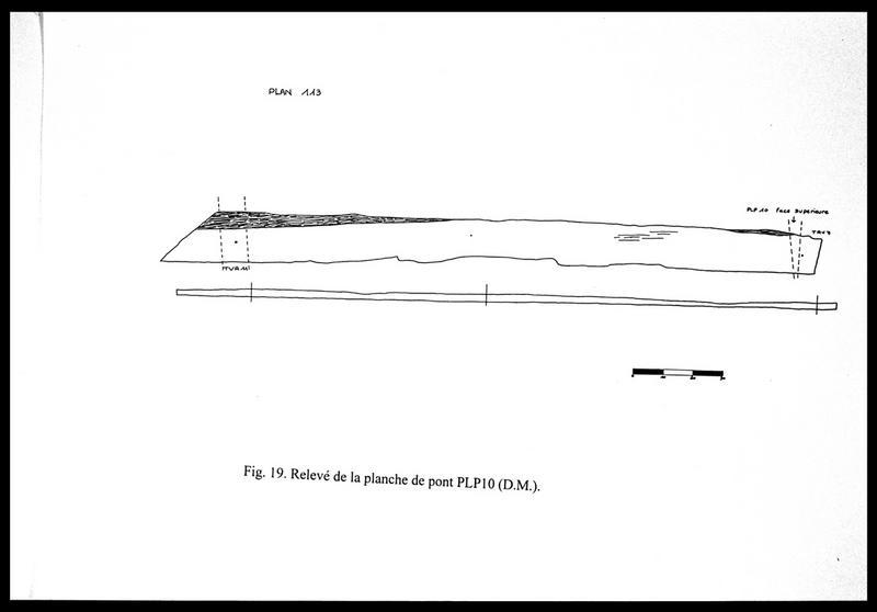 Vue du dessin de la planche de pont PL10 (fouille E. Rieth).