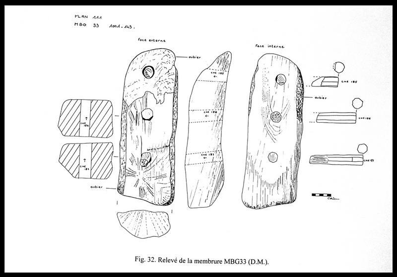 Vue du dessin des différentes faces de la membrure MG33 (fouille E. Rieth).