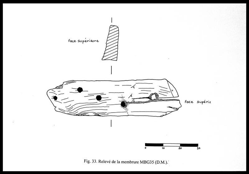 Vue du dessin des différentes faces de la membrure MG35 (fouille E. Rieth).