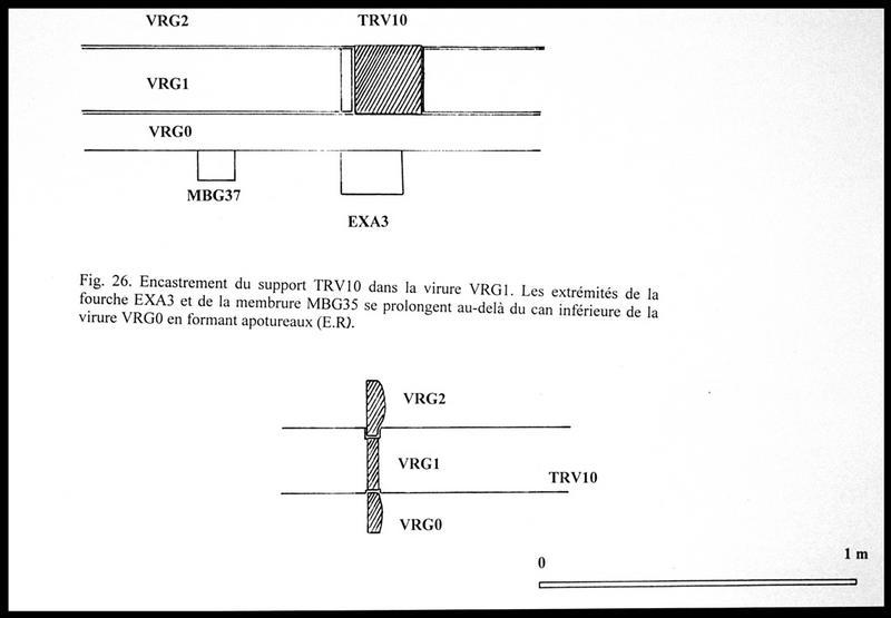 Vue du dessin des différentes faces de l'encastrement du support TV10 dans la virure VG1 et de la prolongation de la fourche EXA3 (fouille E. Rieth).