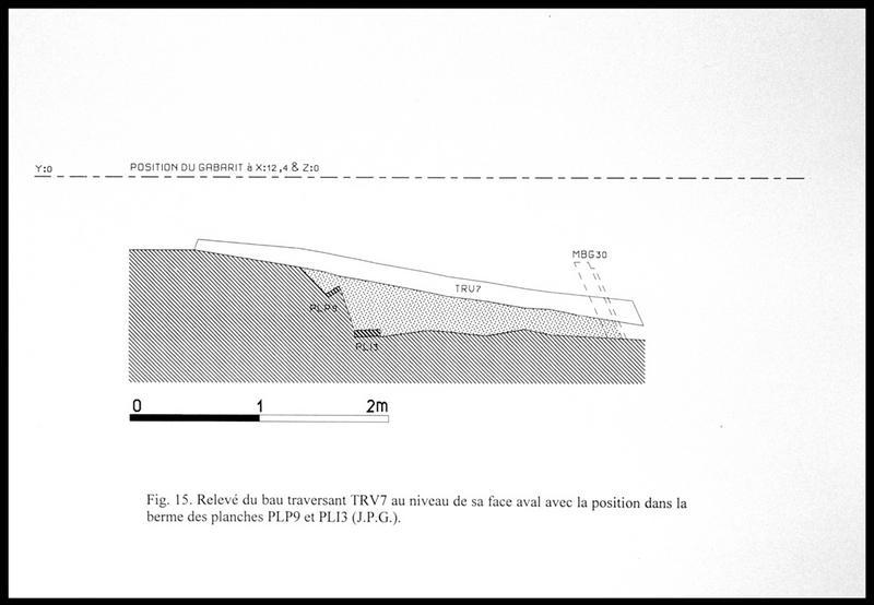 Vue du dessin du bau traversant TV7 et de la localisation des planches PL9 et 13 (fouille E. Rieth).