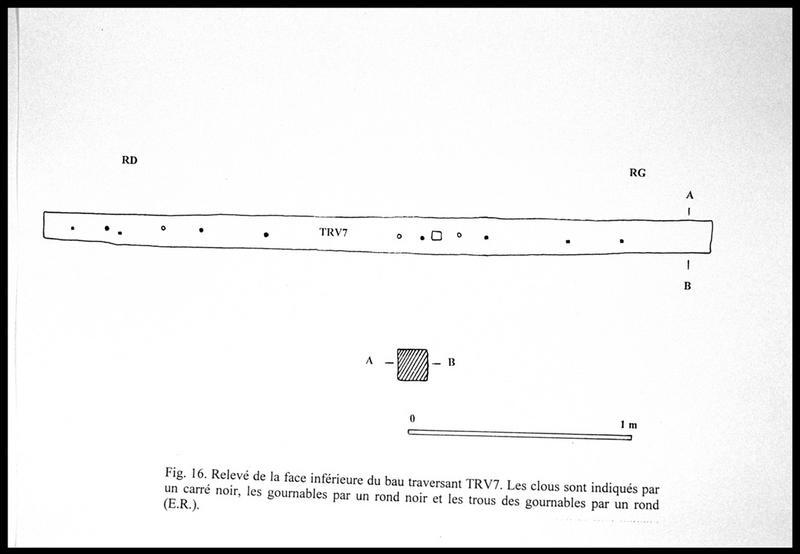 Vue du dessin des différentes faces du bau traversant TV7 (fouille E. Rieth).