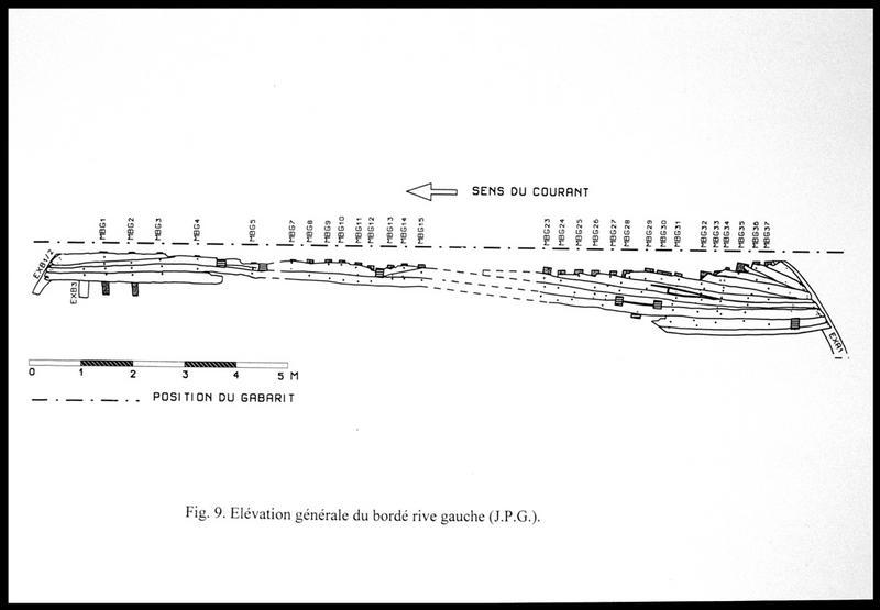 Vue du dessin de l'élévation du bordé rive gauche (fouille E. Rieth).