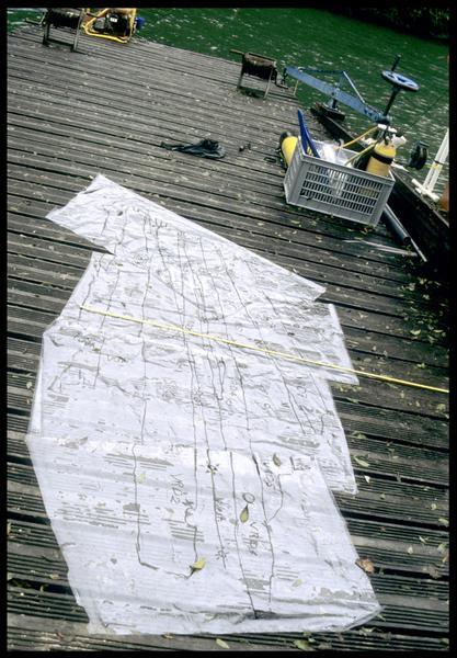 Vue du relevé de la carène (échelle 1) (fouille E. Rieth).