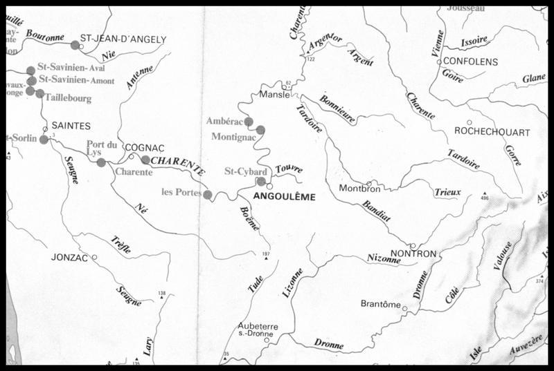 Vue de la carte hydrographique de la Charente (fouille E. Rieth).