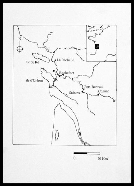Vue de la carte de la Charente (fouille E. Rieth).
