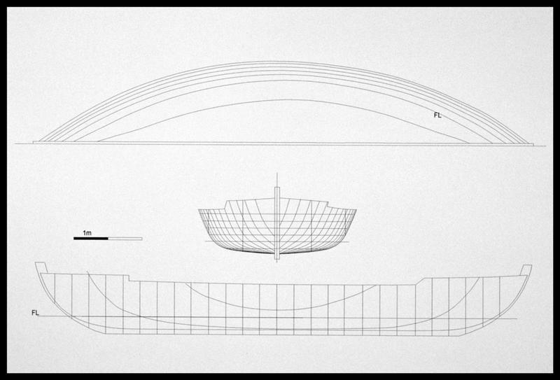 Vue de l'hypothèse des lignes de carène (longitudinale, verticale et horizontale) (fouille E. Rieth).