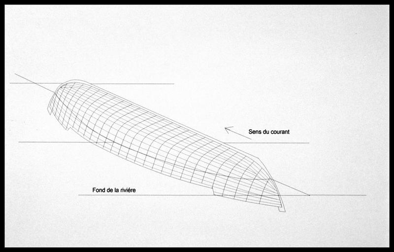Vue de la localisation et de sa situation sur le fond du lit de la Charente (fouille E. Rieth).