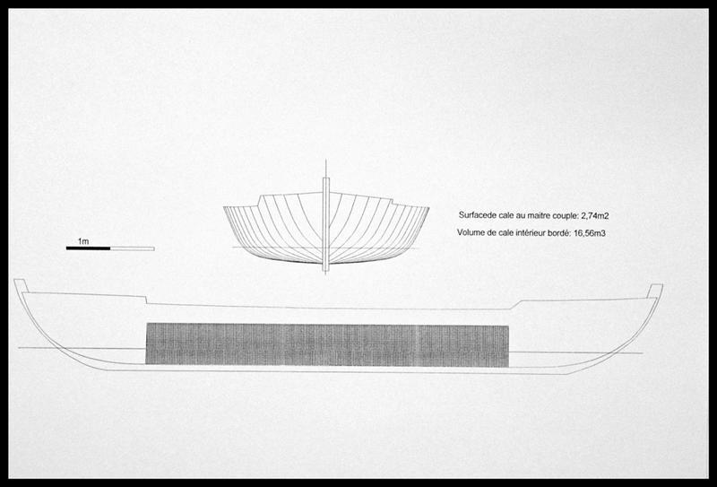 Vue de l'hypothèse de restitution de la cale du bateau (fouille E. Rieth).