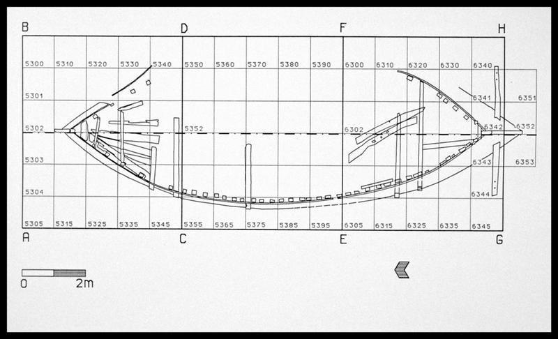 Vue de la localisation des éléments du pont sur le plan général (fouille E. Rieth).