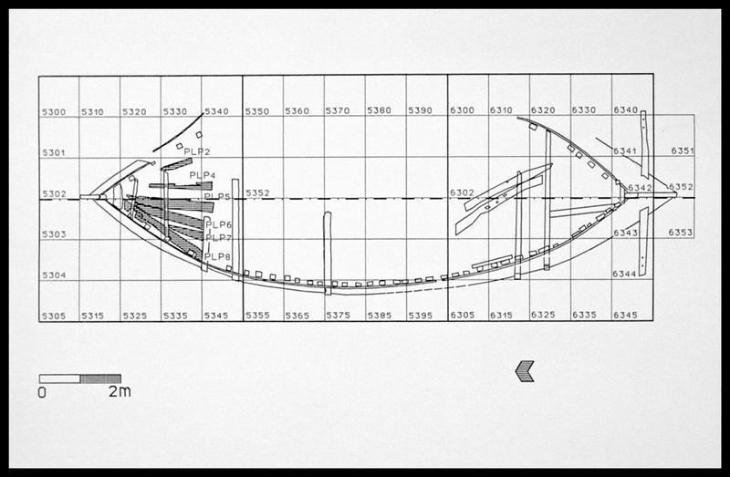 Vue de la localisation et de l'identification des éléments du pont sur le plan général (fouille E. Rieth).
