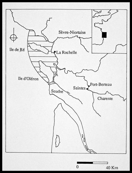 Vue de la carte de la région Charente Maritime (fouille E. Rieth).