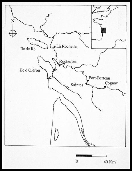 Vue de la localisation des différentes villes de la région Charente (fouille E. Rieth).