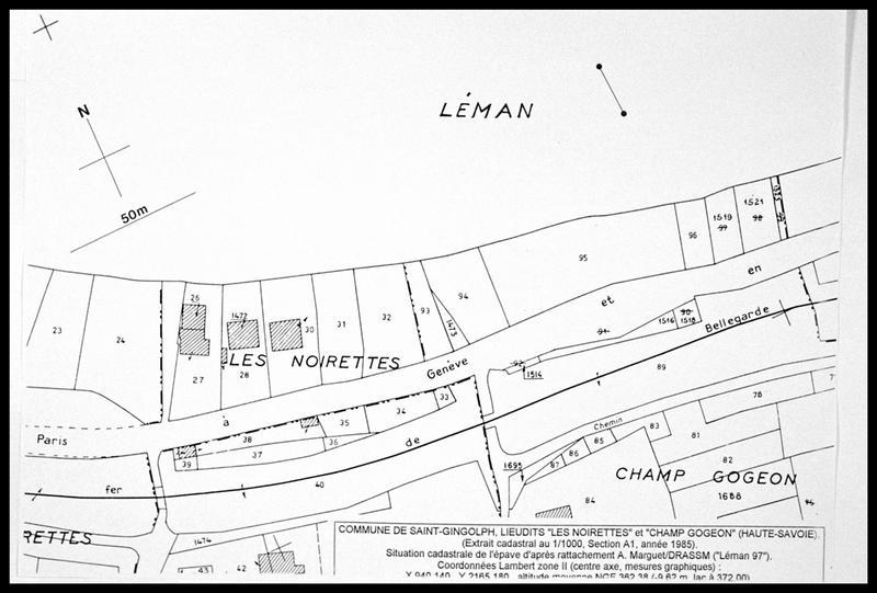 Vue de la localisation de l'épave sur le plan cadastral (fouille E. Rieth).