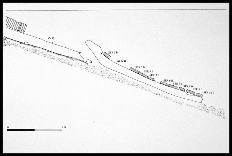 Vue du dessin du profil de la carène (fouille E. Rieth).