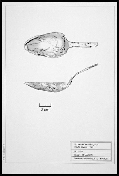 Vue du dessin d'une cuillère de métal (fouille E. Rieth).