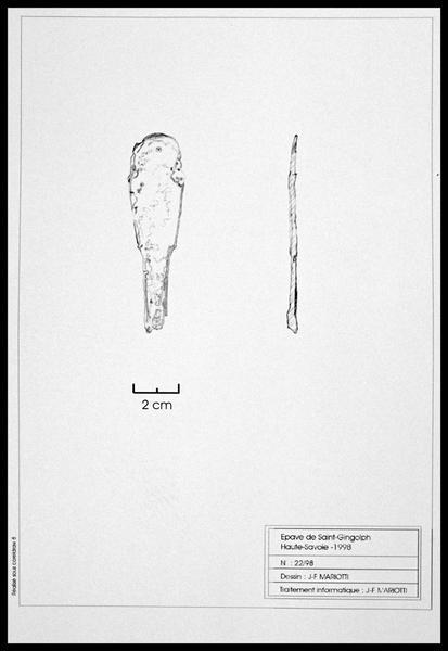 Vue du dessin d'un manche de couvert en métal (fouille E. Rieth).